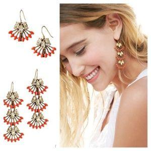 Stella & Dot Coral Clay Earrings